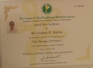 Diploma de Thai Massage otorgado por el ministerio Thailandes